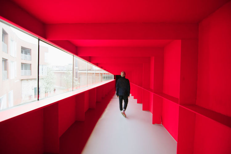 Red Dimension Bright Exploring EyeEm Best Shots Adult Arcade Architectural Column Architecture Bold Building Built Structure Corridor Day Direction Full Length Indoors  Lifestyles Men One Person Real People Rear View Red Standing The Way Forward Walking