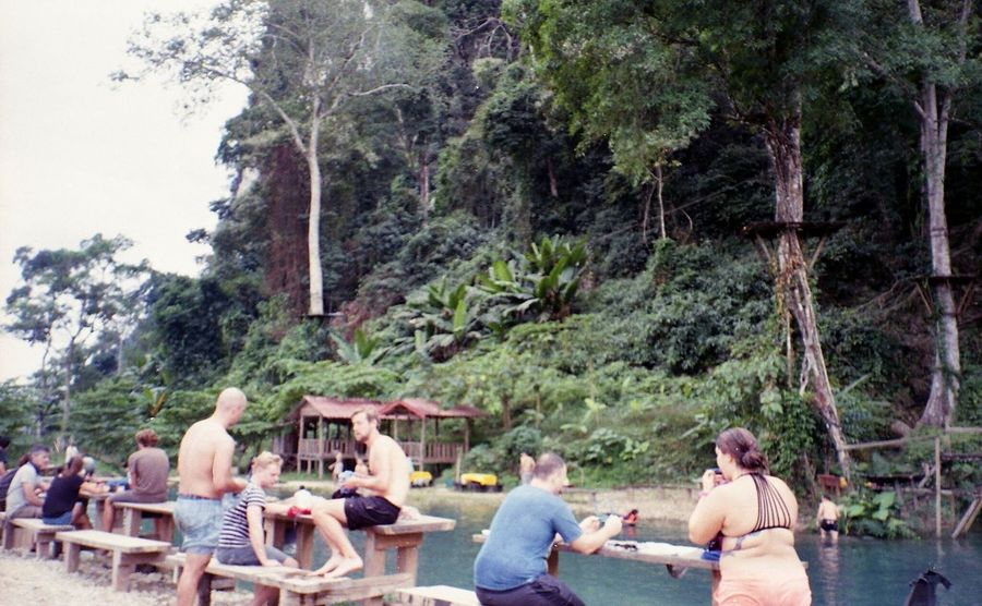 • Blue Lagoon 3 Vang Vieng, Laos • Relaxation Real People Friendship Outdoors Beauty In Nature Travel Destinations Filmphotography Film Proimage Proimage100 Nature Vang Vieng Laos Bluelagoon Tree Women Young Adult Young Women Leisure Activity Sitting Lifestyles Togetherness Men Day Adults Only