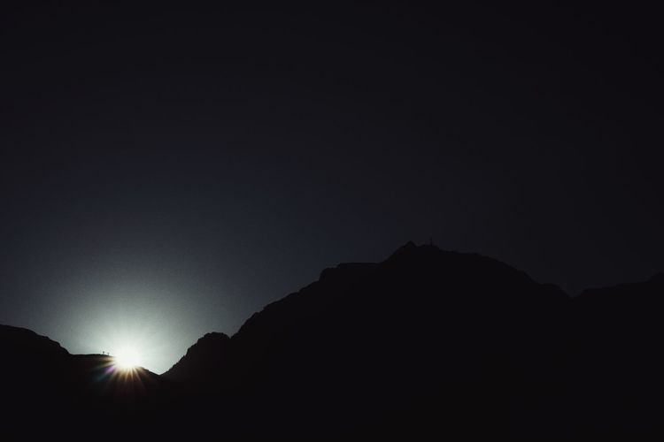 Sun Mountain Dark Silhouette
