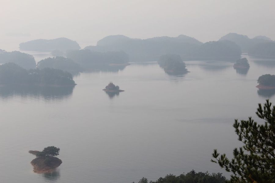 A Bird's Eye View Lake Islands From Top Of A Mountain Travel China Thousand Island Lake My Favorite Place