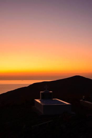 Sunset Greece Serifos Serifos Greece Orange Color Tranquility Sky Grave Graveyard Resting Time Last Travel Eternal Rest End Of Life