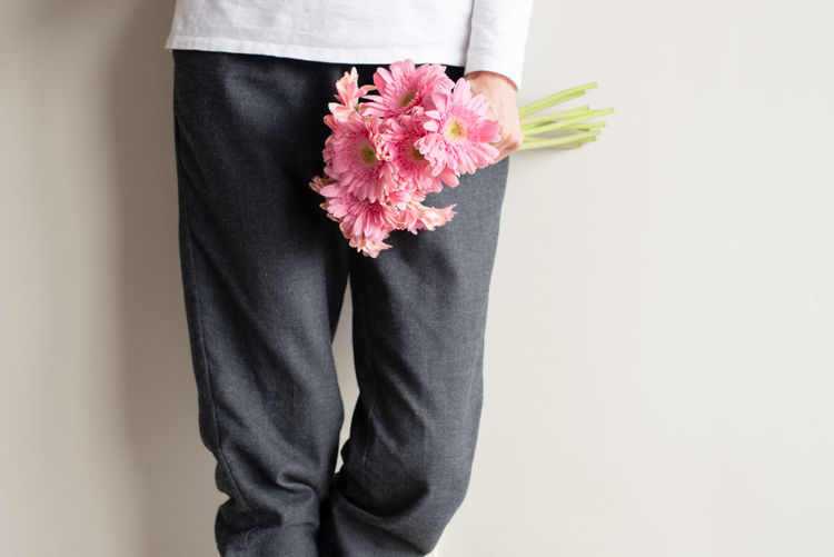 Midsection of woman holding pink gerbera daisies against wall