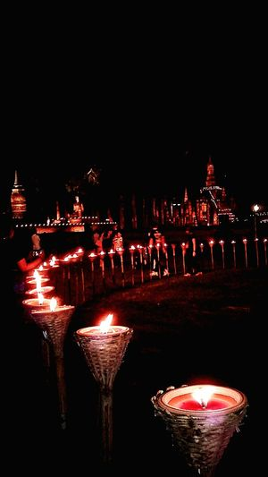 Illuminated Candle Bhudist Religion Architecture ลอยกระทงสุโขทัย Travel Destinations Temple And Shadow Mobilephotography