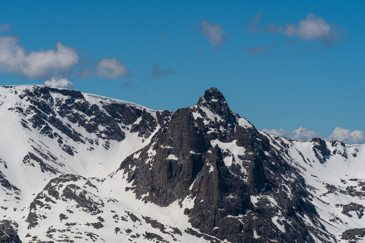 Landscape of snow-dappled mountain peaks in rocky mountain national park