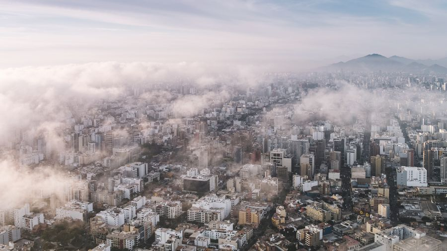 Cloudy Day in Lima Peru South America Lima Aerial DJI X Eyeem Urban Streets Mountain Fog Sky Cloud - Sky Landscape Office Building Aerial View Downtown Skyscraper Cityscape Urban Skyline Crowded Skyline This Is Latin America