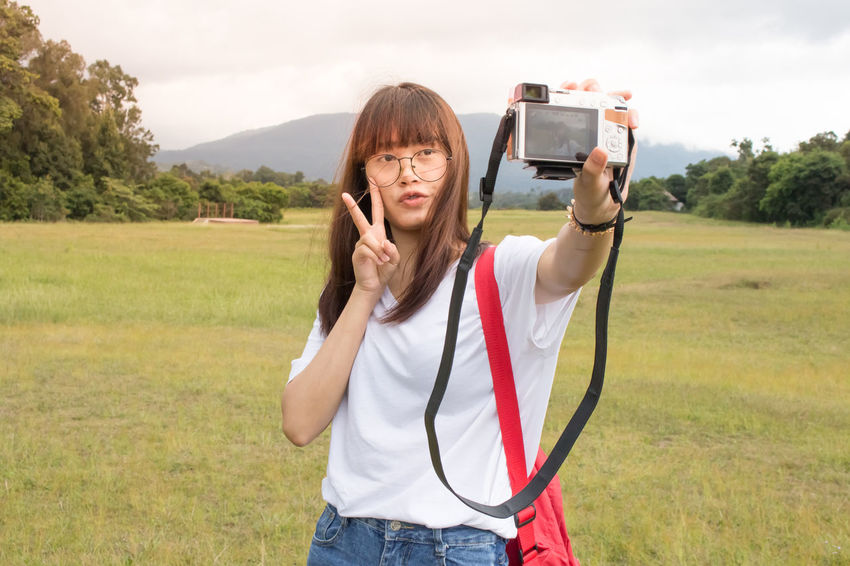 Photography Selfie ✌ Selfie Portrait BrownHair Day Girls Standing Outdoors Long Hair Nature Travel Photography Traveling Travelphotography Lifestyles Asian Girl Portrait Young Women Style One Person Young Adult Photo Messaging People Casual Clothing Cute