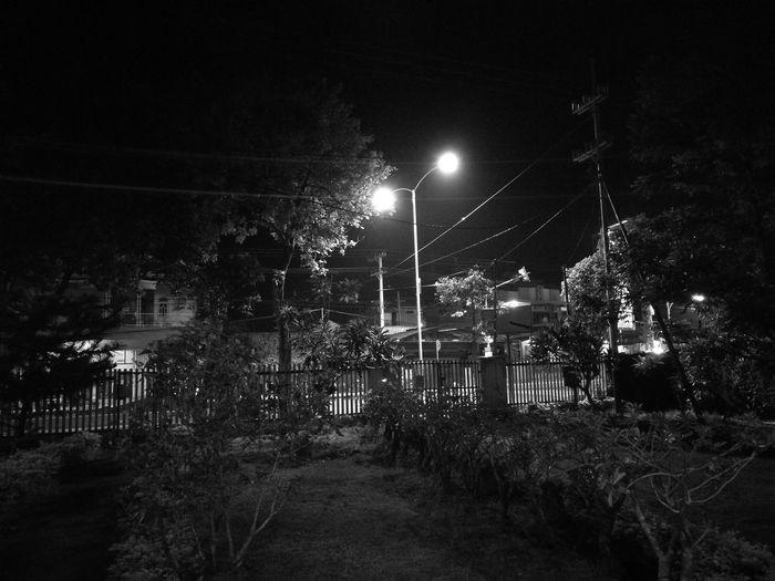 Night Illuminated Outdoors No People Soccer Field Tree Sky