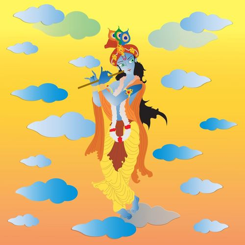 Lord krishna Hindu Religion Legend Cartoon Mahabharata India EyeEm Selects Nature Cloud - Sky People Adult Sky Outdoors Human Body Part