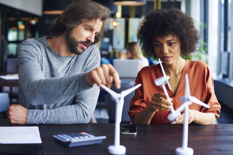 Portrait of beautiful african american woman in the office Wind Turbine Ecology Ecological People Two People Businessman Office Afrohair Afroamerican Girl Environment Wind Energy Wind Power Smart Casual Woman Man Advice Colleague Teamwork Eco Alternative Energy