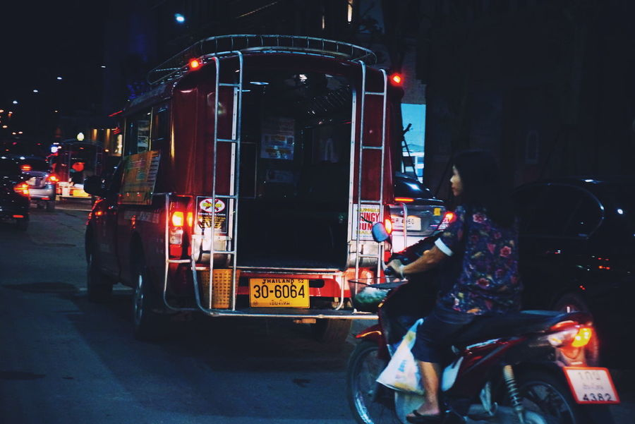Night in Chiangmai. Summer City Modern Beauty Scenics Cityscape Mix Yourself A Good Time Nightlife Night Car Transportation Mode Of Transport Land Vehicle People