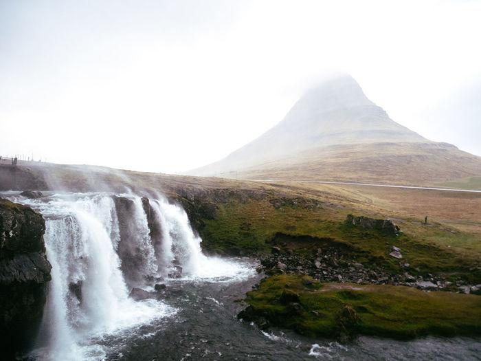 Beauty In Nature Day Fog Iceland Kirkjufell Kirkjufellsfoss Landscape Mist Mountain Nature No People Outdoors Rain Scenics Storm Water Waterfall Weather Wind