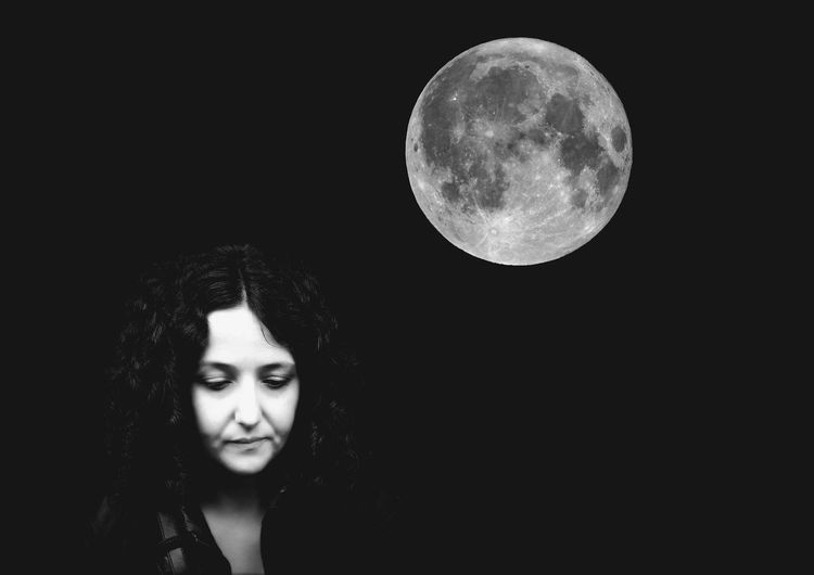 Astronomy Dark Female Full Moon Girl Girls Model Monochrome Moon Moonlight Moonlit Night Nighttime Outdoors Romantic Woman