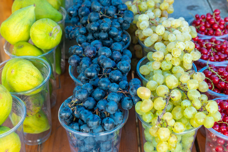 High angle view of grapes for sale in market