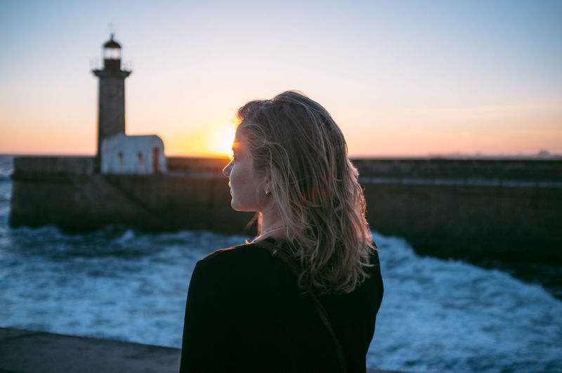 Beautiful Blonde Girl Hair Leisure Activity Lifestyles Light Lighthouse Nature Ocean Outdoors Selfie Sky Sun Sunset Warm Like Melted Butter Water Waves Wind Woman