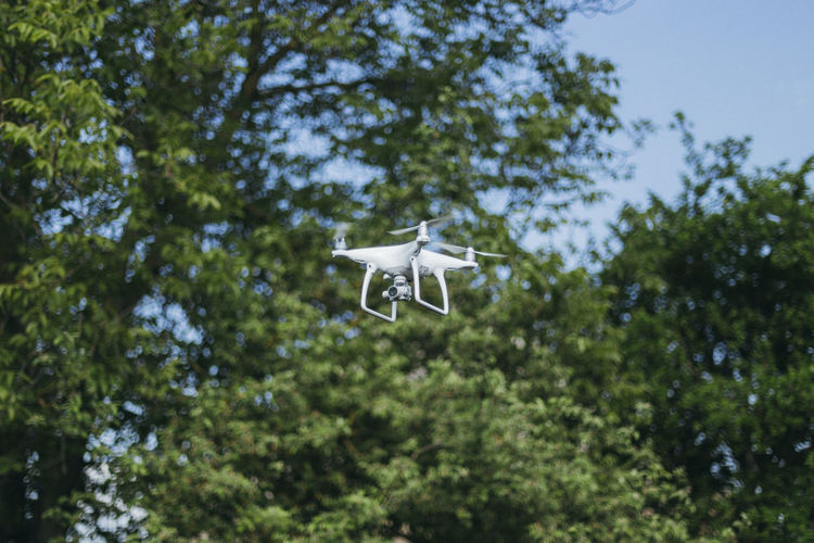 Low angle view of drone flying against trees