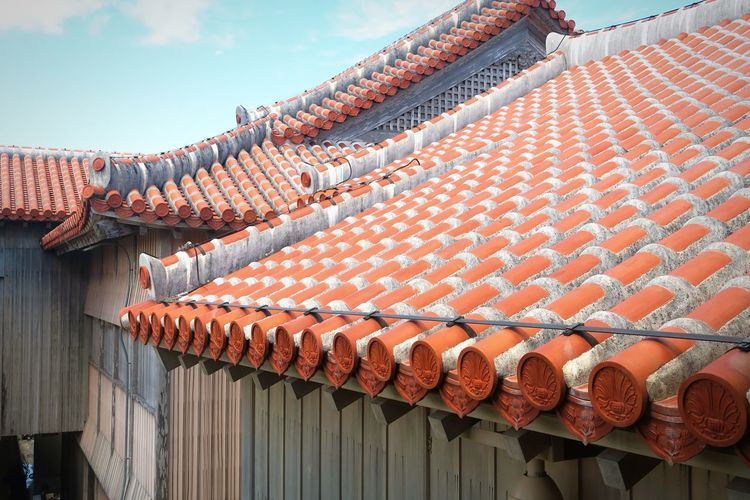 Roof of house against sky