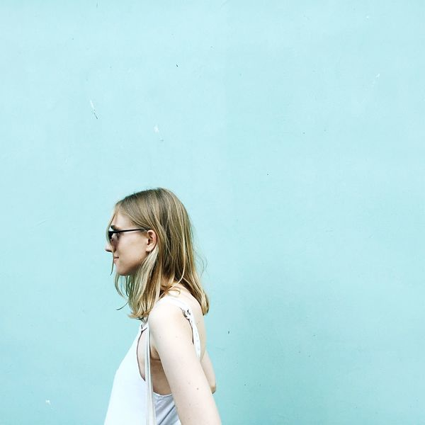 Looking Away Real People Pensive One Person Eyeglasses  Dyed Hair Day Outdoors Girl Portrait Summer Warm Minimalism