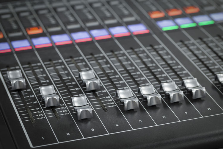 Detail shot of mixing console