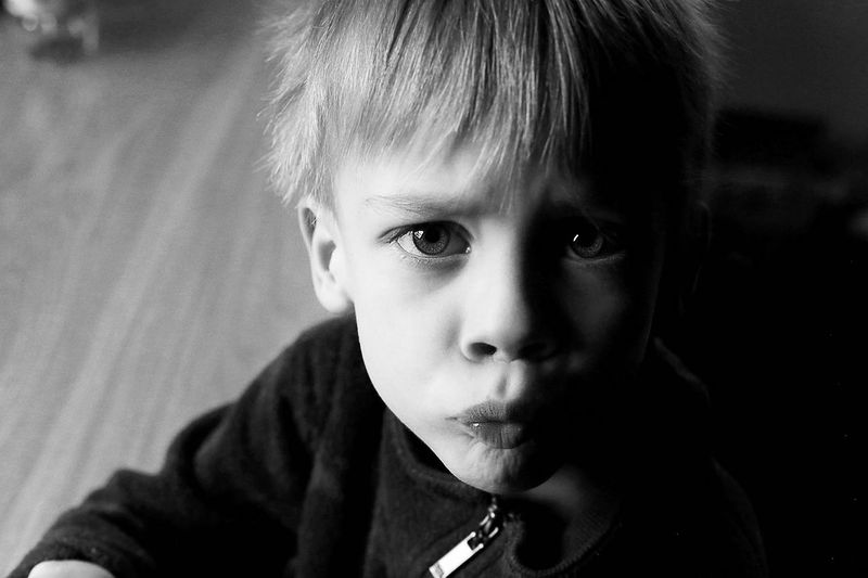 Portrait of blond child looking at camera
