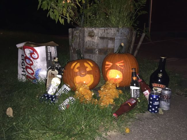 Human Representation Creativity Outdoors Collection Culture Large Group Of Objects Spooky Fall Autumn Pumpkins Pumpkin Alcohol Bottles Alcohol Drunk Decoration Festive