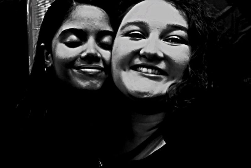 Two People Smiling Togetherness Happiness Heterosexual Couple Love Cheerful Young Women Headshot Fun