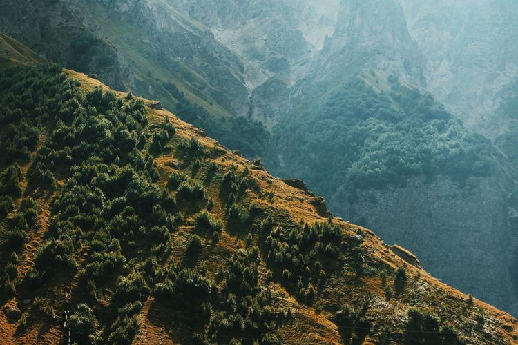 Scenic view of mountains, on the road to kazbegi, georgia