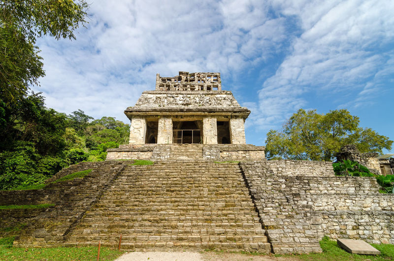 Steps leading up an ancient Mayan temple in Palenque Mexico Ancient Archeology Building Forest Heritage History Jungle Maya Mayan Mexico Old Palenque Palenque México Palenque, Chiapas Precolumbian Pyramid Religion Ruin Stairs Stairway Stone Temple Unesco UNESCO World Heritage Site View