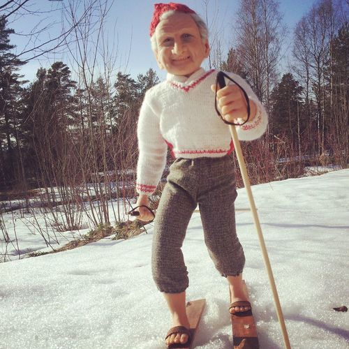 Nisse has been out skiing today Handmade By Me Artdolls Portrait Hello World