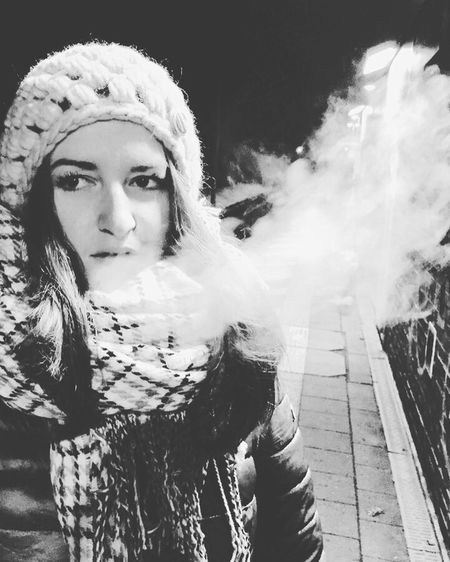 Young Women Blackandwhite IPhoneography Winter Ecigarette Colorless