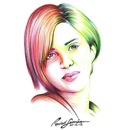 Rainbow art style.. an old portrait of the awesome @lnlne ;) Talent Oldartwork Colouredpencils Instatalent instamood beauty hotgirl