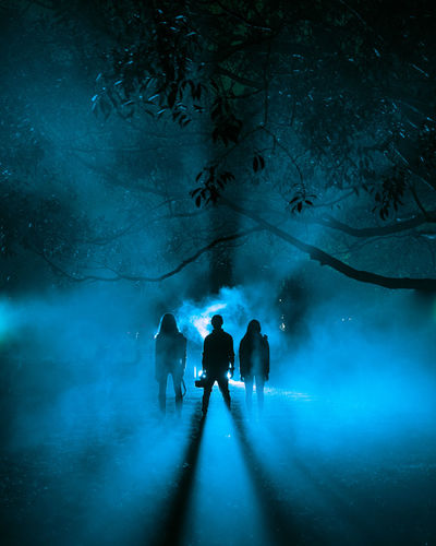Stranger Things Backlight EyeEmNewHere Night Photography Smoke Backlit Fog Foggy Group Of People Illuminated Moody Outdoors Real People Silhouette Stranger Things The Creative - 2018 EyeEm Awards Human Connection Capture Tomorrow