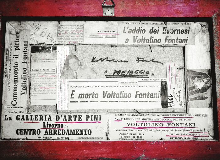 Epitaph of a painter Voltolino Newspaper Painting Red Communication Close-up Typescript Handwriting  Textured  Written