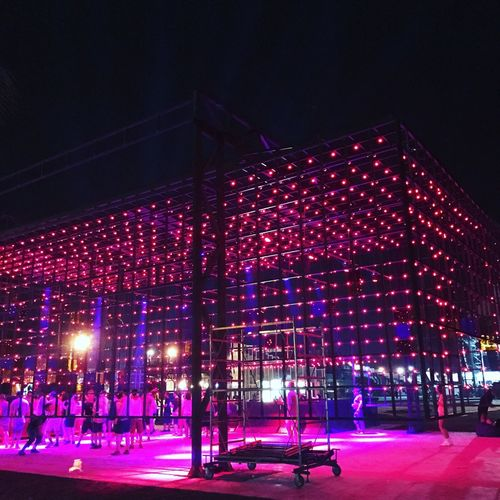 Illuminated Night Large Group Of People Built Structure Real People Architecture Outdoors Performance People Stage Pixel Gemfest Gemfest2017 Anaklia Ganmukhuri Staysexy