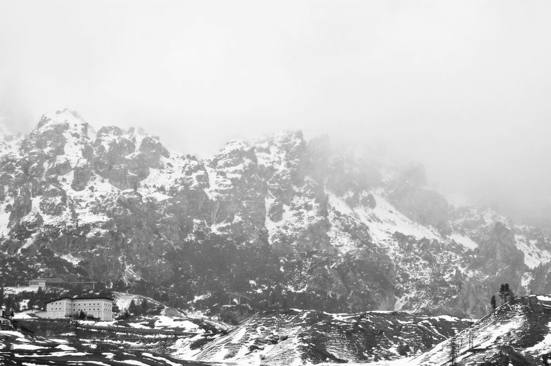 shelter. Alps Blackandwhite Cold Temperature Dolomites Dolomites, Italy Fog Foggy Day Gardeiina Geology Landscape Landscape_Collection Mountain Mountain Range Mountain View Physical Geography Power In Nature Scenics The Great Outdoors - 2016 EyeEm Awards Snowcapped The Great Outdoors With Adobe Landscapes With WhiteWall Weather Winter Learn & Shoot: Balancing Elements Miles Away