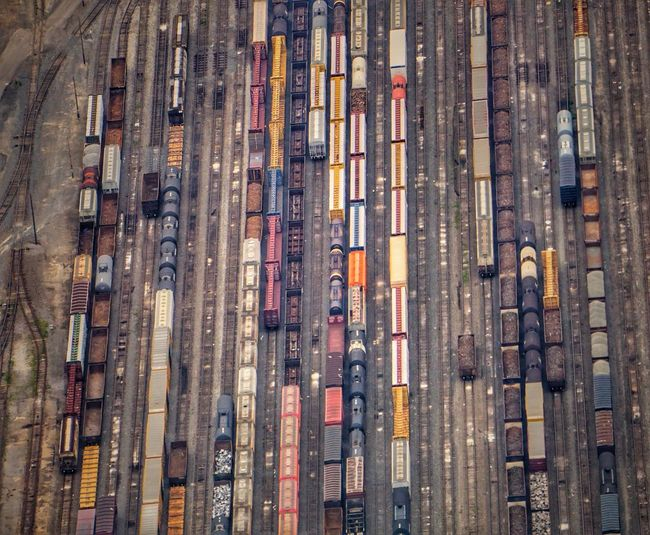 Aerial view of trains on railroad tracks