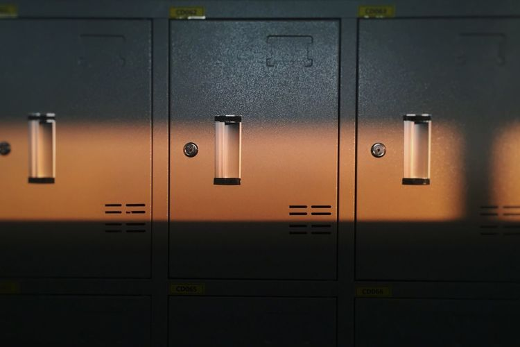 Close-Up Of Closed Lockers