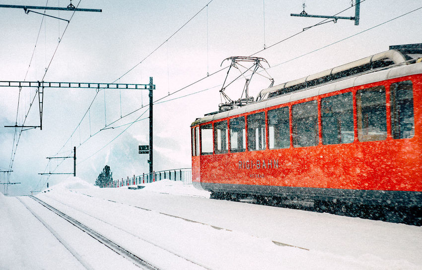 50mm Bahn Rigi VSCO Cold Temperature Day Leica Nature No People Outdoors Rail Transportation Sky Snow Switzerland Train - Vehicle Transportation Winter Shades Of Winter EyeEmNewHere