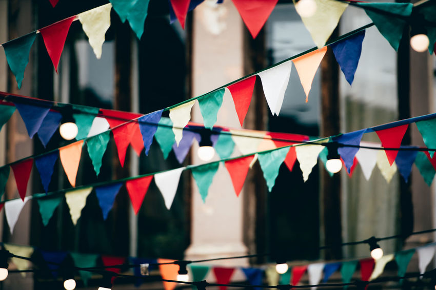 Bunting Close-up Day Focus On Foreground Indoors  Multi Colored No People Triangle Triangle Shape Variation