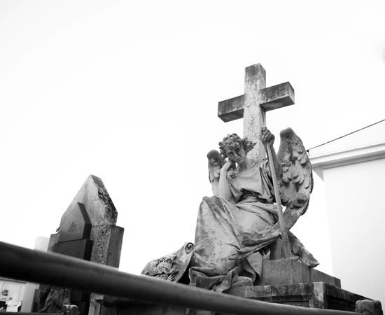 Angel Cemetery Cemetery_shots Cemetery Photography Christian Cross Statue Human Representation Sculpture Low Angle View No People Architecture Sky Religion Monochrome Black & White Nikon Nikon D3300 D3300