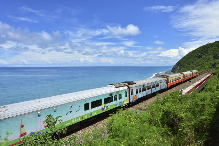 Taiwan's eastern coastline scenic area, is a station Taitung station is the coastline of the most beautiful scenery of a small train station. More Station White Clouds Beautiful Coast Beauty In Nature Blue Blue Sky Cloud - Sky Day Horizon Over Water Mode Of Transport Nature Nautical Vessel No People Outdoors Public Transportation Rail Transportation Railway Scenics Sea Sky Train - Vehicle Train Station Transportation Tree Water