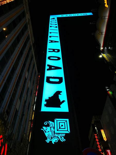 Godzilla MOVIE Shinjuku Tokyo JapanNight Text Direction Low Angle View Illuminated Guidance No People Communication Outdoors City Neon Road Sign Sky