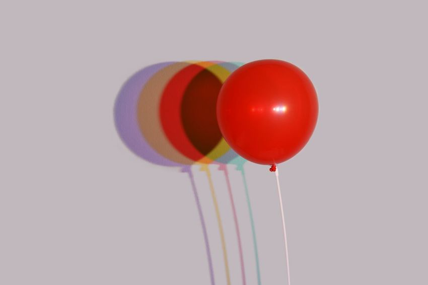I could fire lights at a balloon all day. And I do. Color Gels Gel Colored Shadow Balloon Multi Colored Flying Mid-air Red Helium Balloon Celebration No People Decoration Party - Social Event Copy Space