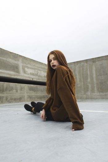 Melissa Girl Beauty Fashion Pose Photography Art Model Attitude Minimalist Architecture Minimalism Fashion Photography Unique Redhead Outfit Warm Clothing Ice Rink Young Women Cold Temperature Full Length Winter Snow Beautiful Woman Portrait Sitting Go Higher Stories From The City EyeEmNewHere Inner Power Visual Creativity