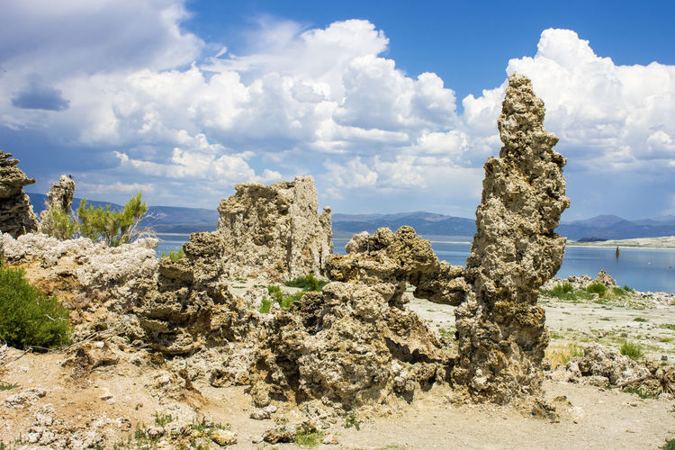 Mono Lake, a large, shallow saline soda lake in Mono County, California, with tufa rock formations Beach Beauty In Nature Cloud - Sky Day Growth Lake Mono Lake Mono Lake California Nature No People Outdoors Rock - Object Rock Formation Scenics Sea Sky Tranquil Scene Tranquility Tree Tufa Water