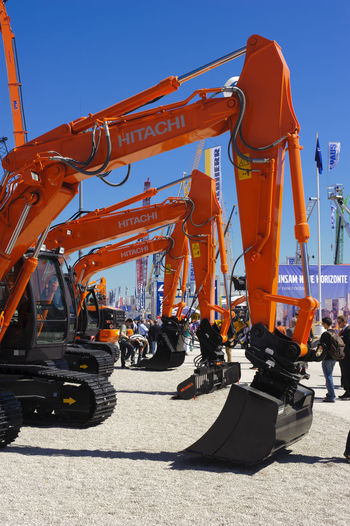construction machinery at trade fair BAUMA in Munich, Bavaria Bauma Trade Fair Construction Construction Industry Industry Industrial Equipment Construction Equipment Construction Machinery Machinery Excavator Digger Vehicle Construction Site Munich Crane - Construction Machinery Earth Mover Truck Outdoors Business Industrial Land Vehicle Mode Of Transportation Mode Of Transport Trade Machine Park