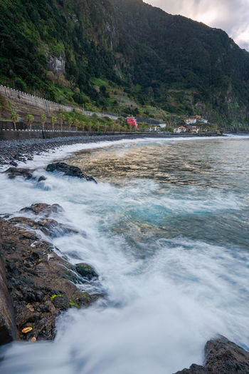 Landscape Madeira Portugal Europe Seascape Panorama View Panoramic Nature Water Sea Outdoors Seixal Rocks Crashing Mountain Scenics Buildings Red Houses Bay Reflection Autumn Trees Travel
