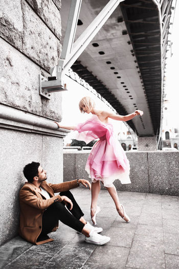 Angel Bridge Coat Day Dence Dress Fashion Friendship Love Men People Red Dress Two People Young Women Москва мост