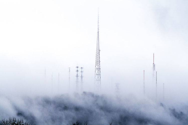 Before The Storm Cold Temperature Contrast Cool Day Dormant Foggy Mountain Top Muted Colors Outdoors Paris Mountain Paris Mountain State Park Sky Telephone Tower Tower TV Tower Winter Winter Trees