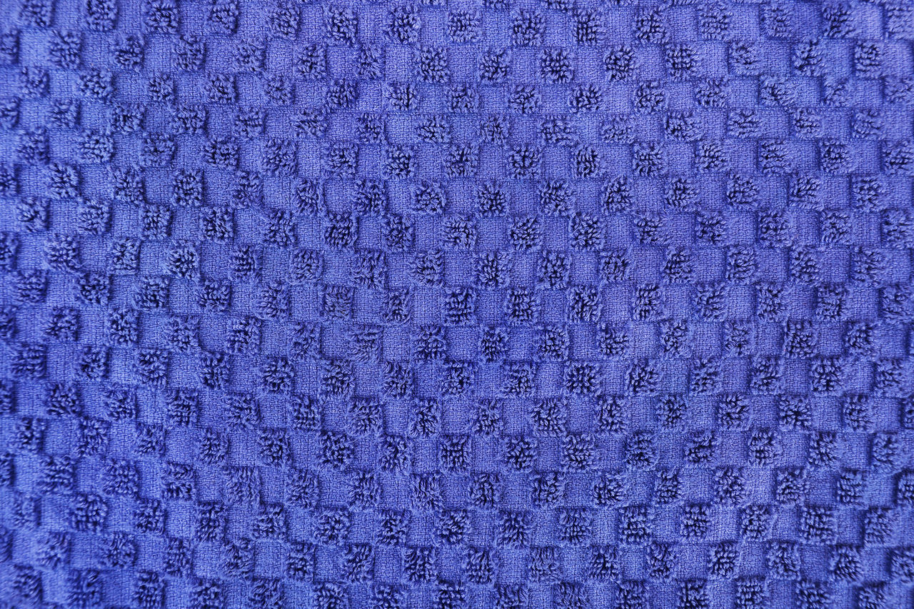 backgrounds, pattern, full frame, blue, textured, textile, no people, design, close-up, abstract, art and craft, shape, indoors, woven, repetition, industry, wool, purple, craft, textured effect, garment