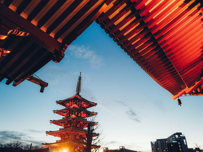 Japan Tokyo Asakusa Hanging Out History Japan Travel Travel Destinations Travel Exceptional Normalcy Abstract Still Life Sky And City Sky Built Structure Architecture Low Angle View Red Nature Building Exterior No People Orange Color Outdoors Cloud - Sky Illuminated Building Lighting Equipment Lantern Tree Day Celebration Dusk 17.62° My Best Photo